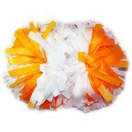 Помпон гантель матовый (бело - оранжевый), фото 1