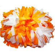 Помпон гантель матовый (оранжево - белый), фото 1