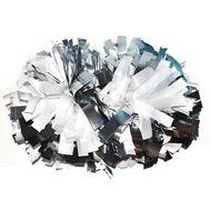 Помпон гантель металлизированный(бело-серебряный (комби)), фото 1