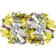 Помпон гантель металлизированный (серебряно-золотой), фото 1