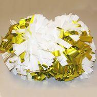 Помпон гантель металлизированный(бело-золотой (комби)), фото 1