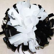 Помпон одиночный металлизированный ( ручка кольца, черно-белый), фото 1