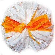 Помпон одиночный матовый ( ручка трубка,бело - оранжевый), фото 1