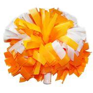 Помпон одиночный матовый ( ручка трубка,оранжево - белый), фото 1