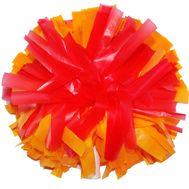 Помпон одиночный матовый ( ручка трубка,оранжево - красный), фото 1