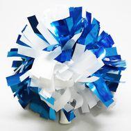 Помпон одиночный металлизированный ( ручка трубка, бело-голубой)(комби), фото 1