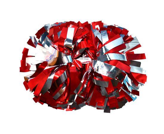 Помпон гантель металлизированный(красно-серебряный), фото 1