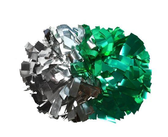 Помпон гантель металлизированный(серебряный / зеленый), фото 1