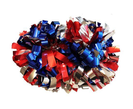 Помпон гантель металлизированный(триколор (сине-красно-серебряный)), фото