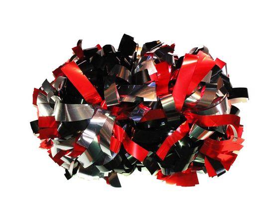Помпон гантель металлизированный(черно-красно-серебряный), фото 1
