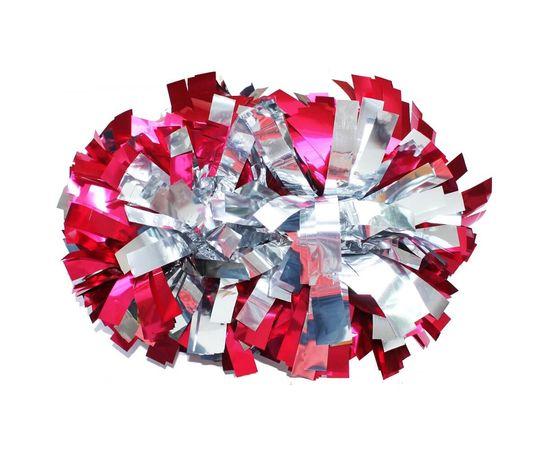 Помпон гантель металлизированный (розово-серебряный), фото 1