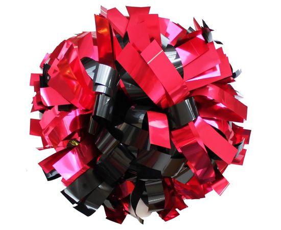 Помпон одиночный металлизированный ( ручка трубка, черно-розовый), фото 1